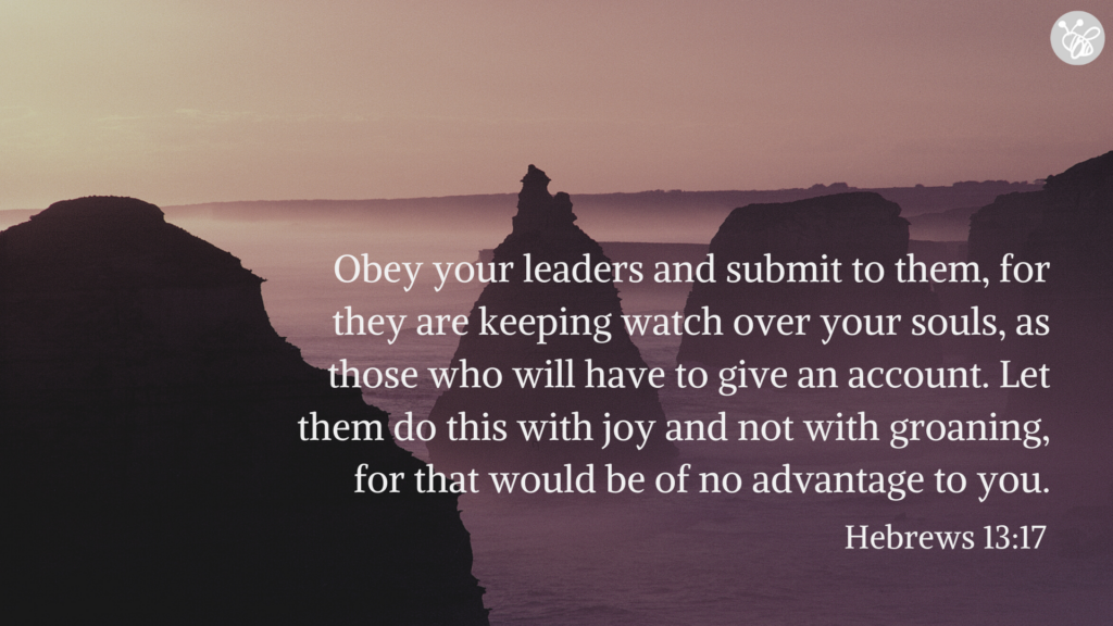 Obey your leaders and submit to them, for they are keeping watch over your souls, as those who will have to give an account. Let them do this with joy and not with groaning, for that would be of no advantage to you. Hebrews 13:17