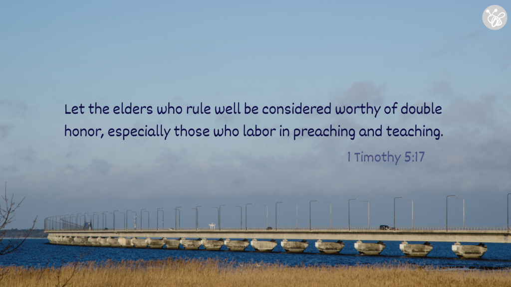 Let the elders who rule well be considered worthy of double honor, especially those who labor in preaching and teaching. 1 Timothy 5:17