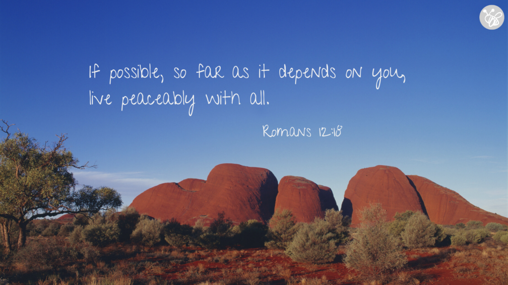 If possible, so far as it depends on you, live peaceably with all. Romans 12:18