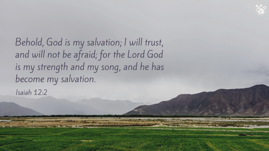 Behold, God is my salvation; I will trust, and will not be afraid; for Yehovah God is my strength and my song, and he has become my salvation. Isaiah 12:2